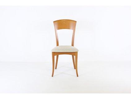 Židle jídelní, masiv, ořech/béžový polstr. sedák,