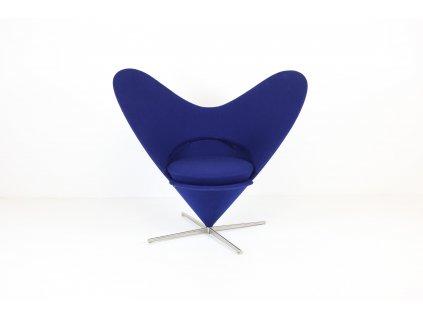 Křeslo Heart Cone chair, Vitra, desing by: Panton, modrá/leštěný kříž
