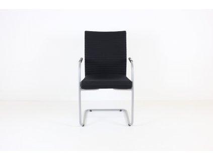 Židle konferenční, LD Seating, černá/šedá, područky, prošívaná záda