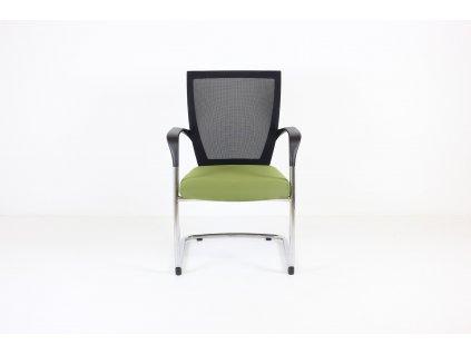 Židle konferenční, Sidiz, zelená/chrom, područky, síť záda