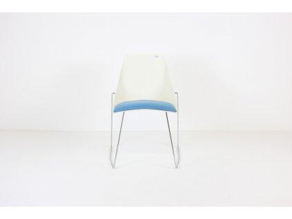 Židle konferenční, HOOP, bílá/modrá/chrom, desing