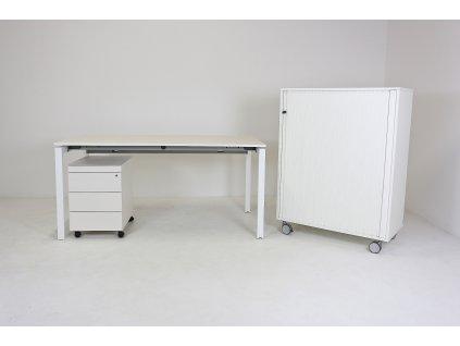 Set: Stůl 160x80 + kontejner + skříň, bílá/bílá, Wiesner