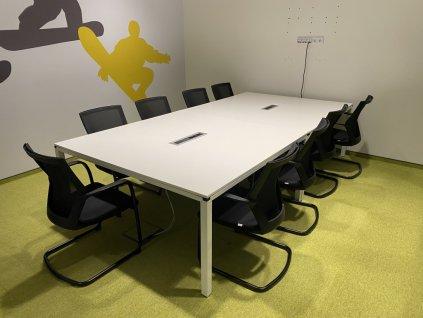 Stůl, konferenční, Techo, 160x140, bílá/bílá, jäkl, rám, elektrobox