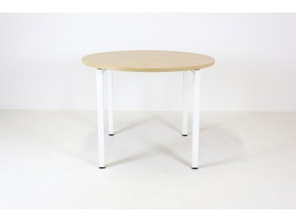 Stůl konferenční, Narbutas, o 100 cm, běl.dub/bílá, kruh, jäkl
