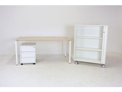 Set: Stůl+kontejner+skříň žaluzie-rám, dub/bílá, Narbutas/Techo