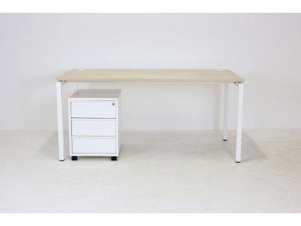 Set: Stůl 160x80 + kontejner, Narburtas, běl. dub/bílá