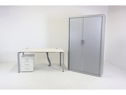 Set: Stůl 160 stavitelný + kontejner + skříň 50H, Kinnarps, bílá/šedá