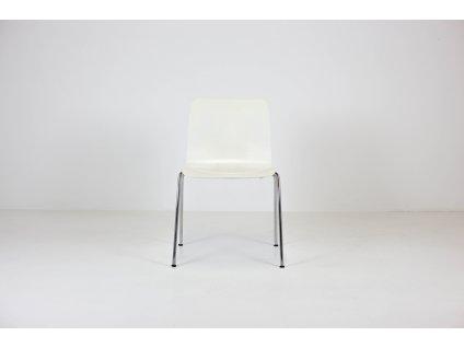 Židle jídelní, překližka, bílá/chrom