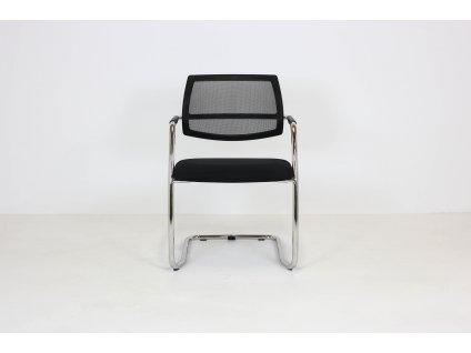 Židle konferenční, Peška, černá/chrom, záda síť lehce poškozená - Sleva