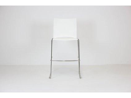 Židle barová, Rim, bílá/chrom, plast