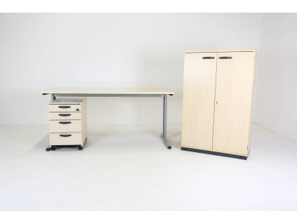 Set: Stůl CL200 + kontejner + skříň Kinnarps javor/bříza