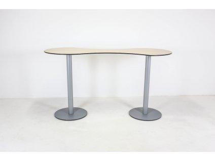 """Stůl barový, 113x200x80, tvar ,,8"""", akácie/šedá"""
