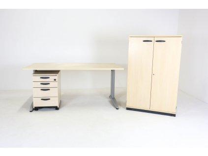 Set: Stůl LAS+Kinnarps, 140x80+kontejner+skříň, javor/stříbrná