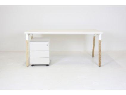 Set: Stůl OGI W 160x80 + kontejner Vitra + bílá/dřevo
