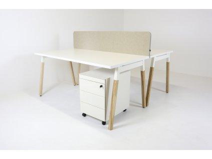 Set: 2xStůl OGI W 160x80 + 2xkontejner Vitra + Paraván v39, bílá/dřevo