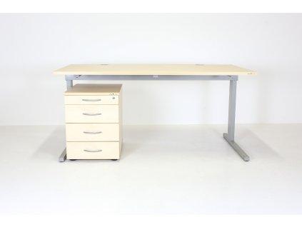 SET: Stůl Techo, HorizontSK 160x80, javor/šedá + kontejner
