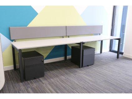 Stůl HM, 2-pracoviště, 320x80, šedá/granit, paravány
