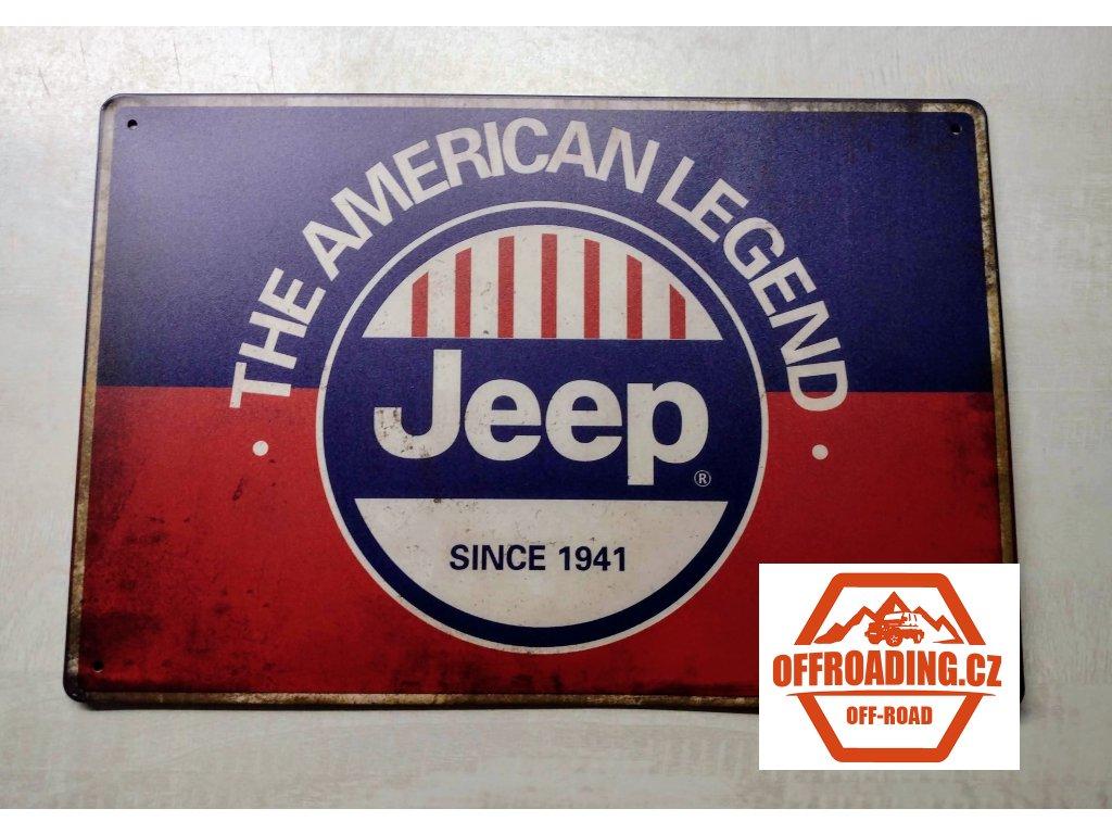 Plechová dekorační cedule Jeep American Legend