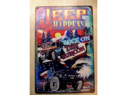 Plechová dekorační cedule Jeep happens
