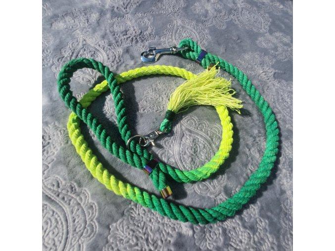 Vôdzka neon zelená ombre (ručná výroba) pre psa do 25 kg dĺžka 1,2m