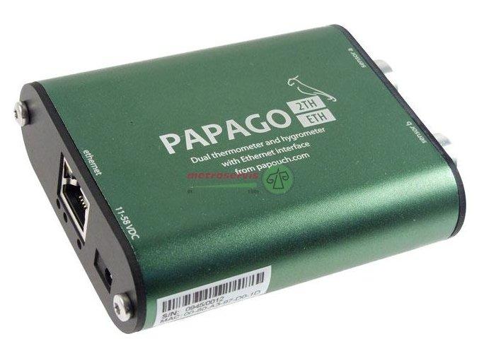 Papago 2TH ETH 2x měření teploty, vlhkosti a rosného bodu s exthernetem