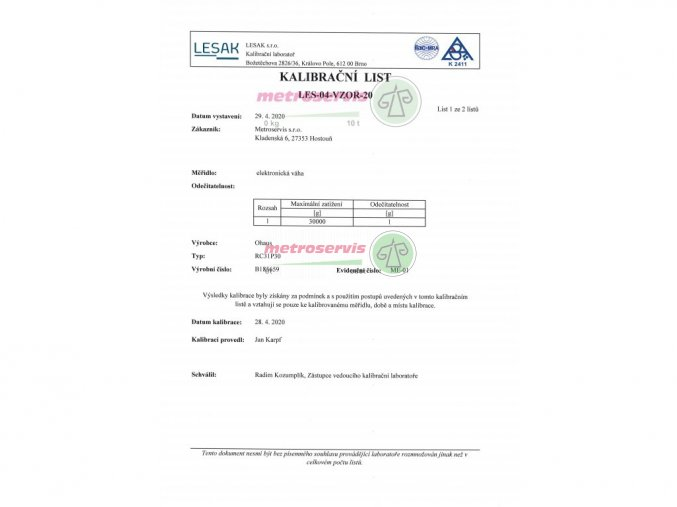 Akreditovaná kalibrace kapesních vah - nové