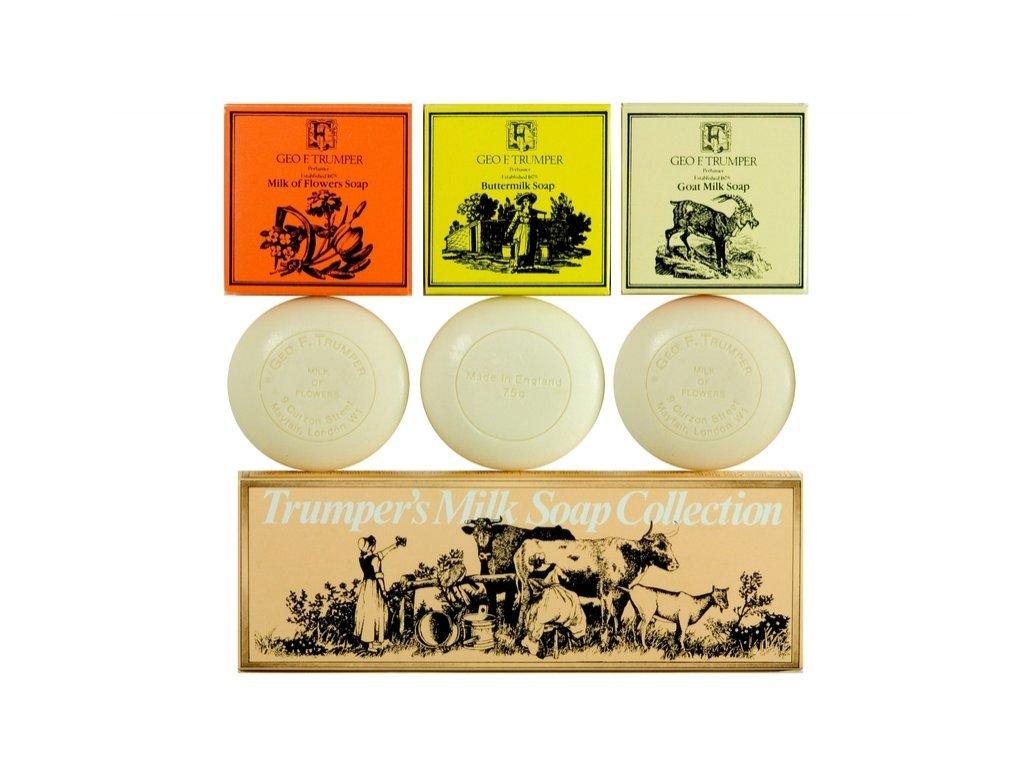 Sada tří klasických mýdel Milk Soap Collection Geo F. Trumper 3 x 75 g