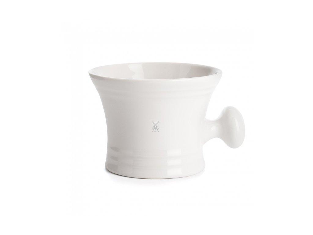 Bílá porcelánová miska na holení s rukojetí Mühle
