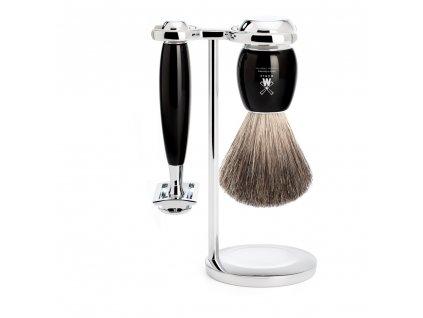 3-dílná sada na holení Mühle Vivo Black Pure Badger