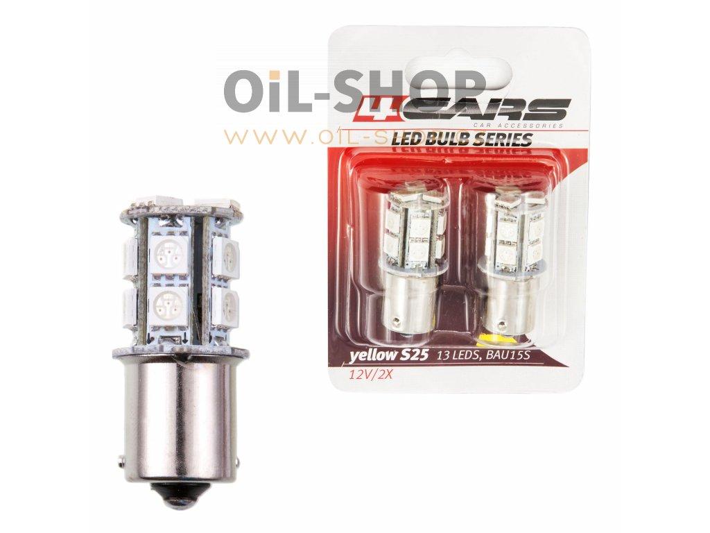 4CARS LED Žárovka 13LED 12V S25-5050SMD BA15S Oranžová