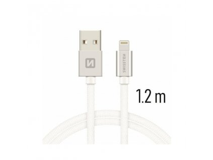 71523203 SWISSTEN DATOVY KABEL TEXTILE USB LIGHTNING 1 2 M STRIBRNY