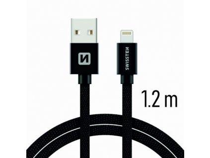 71523201 SWISSTEN DATOVY KABEL TEXTILE USB LIGHTNING 1 2 M CERNY