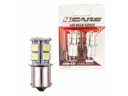 4CARS LED Žárovka 13LED 12V S25-5050SMD BA15S Bílá