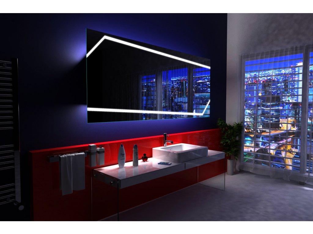 miami obdélníkové zrcadlo s asymetrickým LED osvětlením a chytrými doplňky