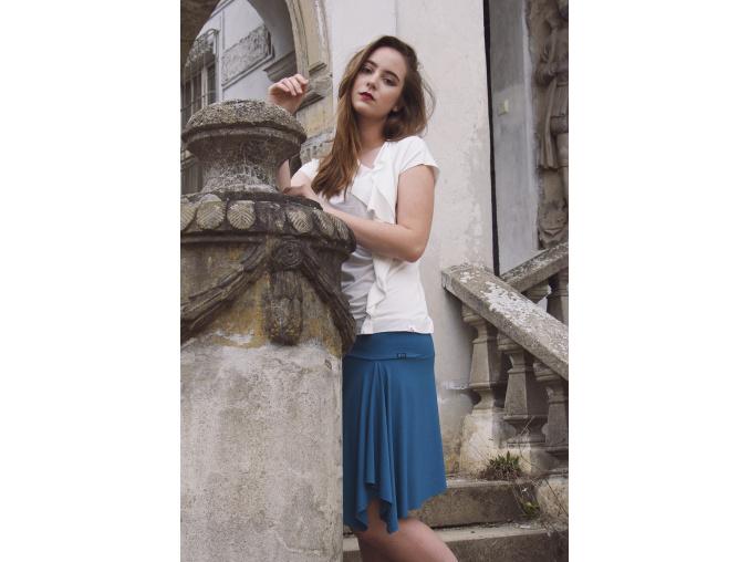 Letní úpletová sukně asymetrická Teal wave