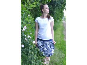 Letní balonová sukně Graphic flowers blue