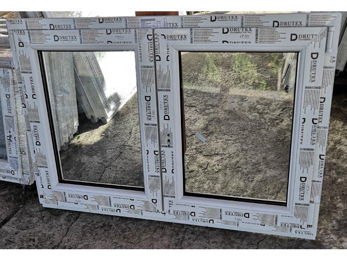 Drutex plastové okno dvoukříídlé bílé 120x120+3cm bez sloupku