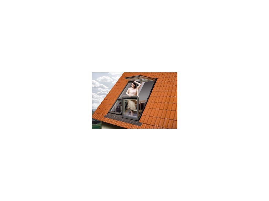 Střešní balkónové okno FAKRO FGH-V P2 Galeria (Zvýšená osa otáčení Fakro DD 94x255 cm)