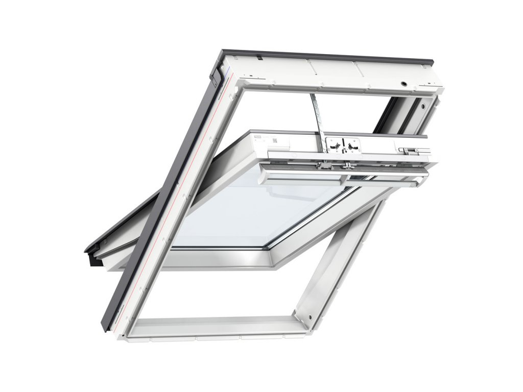 GGU white integra electric centre pivot roof window