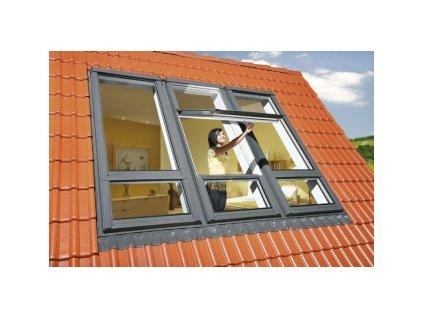 Kyvné okno FAKRO FDY-V/U U3 Duet proSky se zvýšenou osou otáčení a dolním prosvětlením (Zvýšená osa otáčení Fakro DD 94x255 cm)