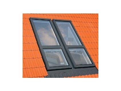Lemování pro balkónové okno FAKRO ESV/G pro ploché krytiny (Zvýšená osa otáčení Fakro DD 94x255 cm)