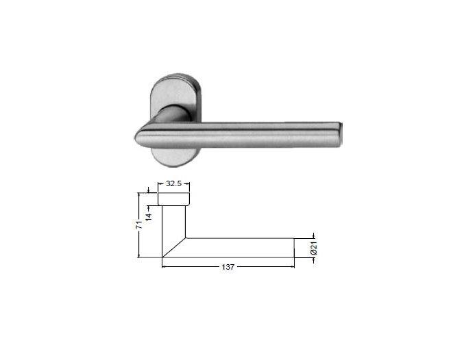 SCHÜCO Dveřní klika pro hliníkové dveře INOX leštěná nerez -S240037