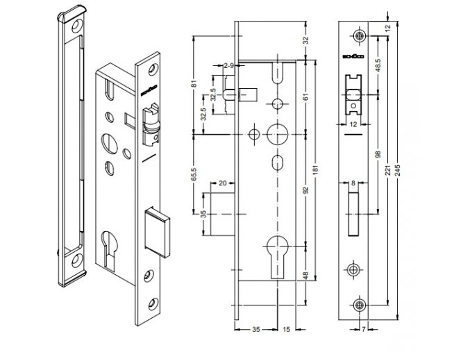 SCHÜCO Dveřní zámek válečkový pro AL dveře P/L - S241259/S241260