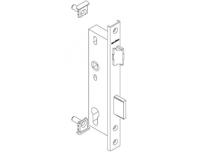 """SCHÜCO Dveřní zámek pro hliníkové dveře pravolevý - dorn 39, rozteč 92, čelo """"U"""" 245 -S241495"""