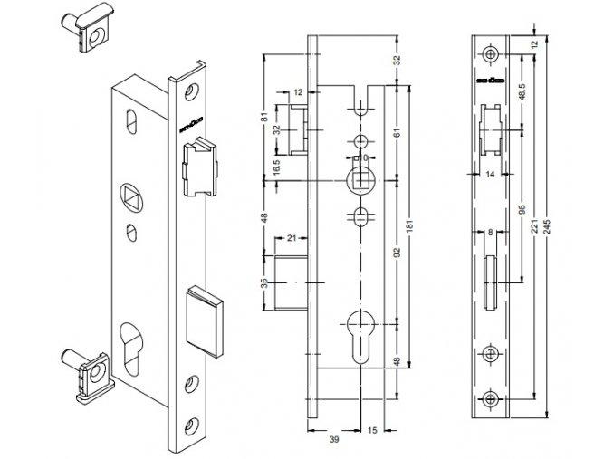 SCHÜCO Dveřní zámek pro AL dveře - S241495