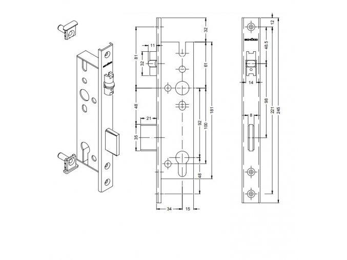SCHÜCO Dveřní zámek válečkový pro AL dveře -S241182