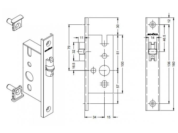 SCHÜCO Dveřní zámek válečkový bez Fab pro AL dveře - S241186