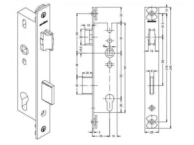 SCHÜCO Dveřní zámek pro AL dveře -S241519