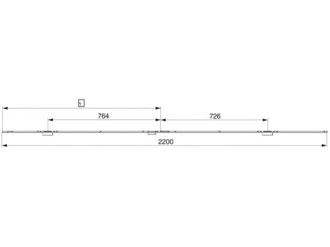 Rámová lišta v celku pro el. otvírač, levá, 24mm, osa 13mm, U-6/24/6