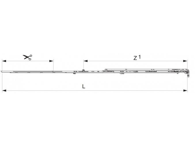 Nůžky MM montované se spárovým větráním 1300 FFB 1.051-1.300 1 i.S., levé